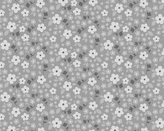 Flowers on Gray From Riley Blake Fabric's Panda Love Collection by Kelly Panacci