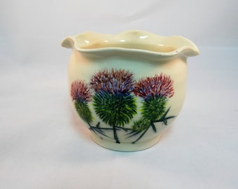 Pottery Flower Vase, Hand Painted Scotish Thistles, Candy Or Snack Dish, Living Room Decor, Small Vessel For The Table Top, Handmade Vase