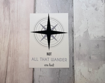 "Compass ""Not all that wander are lost"" A4 Downloadable Print"