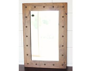 Alderwood Mirror with Tacks, Santa Fe