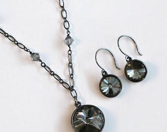 On Sale Black Diamond Swarovski Crystal Pendant on an Antique Silver and Swarovski Crystal Necklace