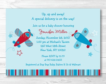 Cute Airplane Baby Shower Invitation / Airplane Baby Shower Invite / Red & Blue Airplane / Boy Baby Shower / PRINTABLE A416