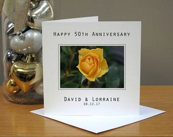 Personalised 50th Wedding Anniversary Flowers Card - Yellow Roses Anniversary Card -  Fiftieth Anniversary Card - 50th Anniversary Card