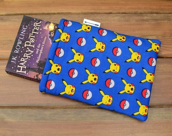 Handmade with Pikachu Pokemon pocket monsters gaming fabric book sleeve keeper paperback cover book lover gift