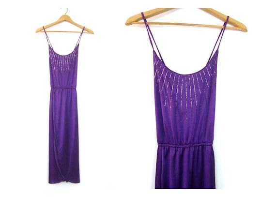 70s Purple Sundress SEXY Sparkle Vintage Dress Handkerchief Skirt Midi Dress Retro Halter Top Dress Women's Size Medium 11