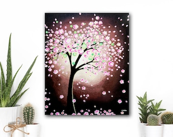 Abstract Tree Painting, Cherry Blossom Abstract Wall Art, Abstract Landscape Home Decor Modern Landscape Art