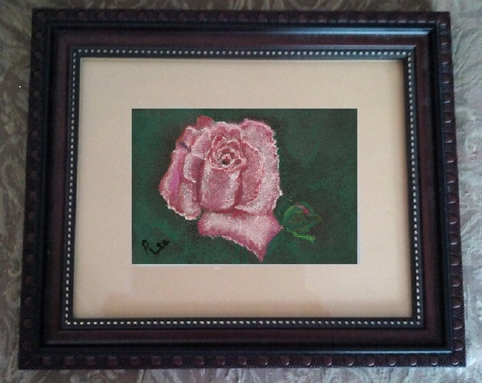 """4x6 Original Pastel Signed Painting, Flower Artwork, """"The Beauty of the Pink Rose"""""""