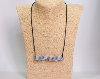 Handmade felt pendant necklace gray and red