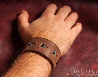 Genuine leather bracelet leather cuff men's bracelet men's jewelry men's gift bracelet first class leather wristband  brown leather