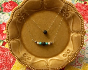 Essential Oil Diffuser Necklace with Rose Quartz and Turquoise