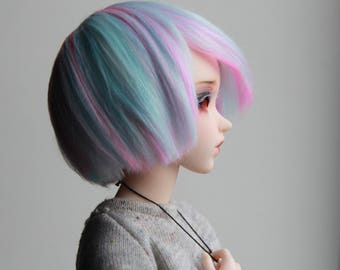 Minifee fairyland mnf wig mix white blue pastel pink cotton candy bob handmade hand dyed bamboo fiber bjd doll