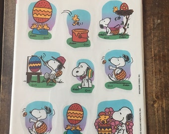 Snoopy with Woodstock Easter Stickers Peanuts Collection 1980s Closed Sealed Package Easter Eggs
