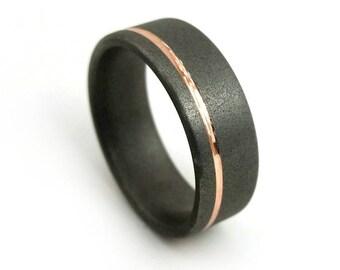 Rose Gold Ring, Titanium Ring, Titanium Jewelry, Gold Jewelry, 18k Ring, Wedding Band, Wedding Ring, Sandblasted Ring, Grand Junction Guy