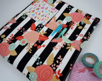 planner pouch, planner cover, planner accessory, planner bag, planner organizer, zipper closure, travel storage bag, designer floral stripe