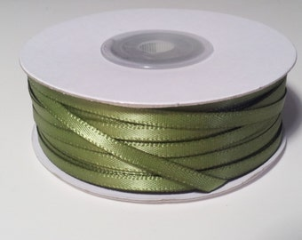 "1/8"" and 1/16"" Moss Double Face Satin Ribbon - 100 Yards"