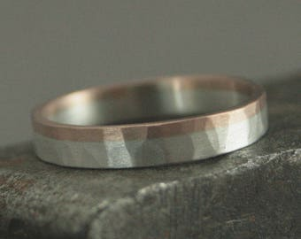 Two Tone Hammered Band--Women's Two Tone Ring--Thin Two Tone Band--Bimetal Ring--3mm Hammered Ring-Women's Wedding Band-Rose Gold and Silver