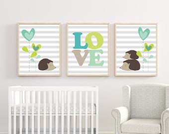 Nursery Baby Boy or Girl Porcupine with Flowers and Love Art Print, Baby Wall Art and Bedroom Hedgehog Wall Decor- H931 - Unframed