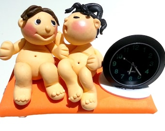 Polymer Clay Oven Bake Figures With Clock