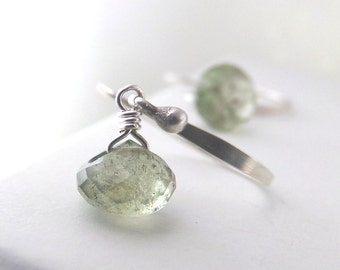 Aquamarine Earrings, Moss Aquamarine Earrings, Sterling Silver, Aquamarine Gemstone, Petite Dangle, March - Seawater Pearls