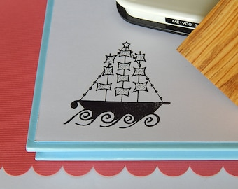 Traditional Greek Christmas Boat Olive Wood Stamp