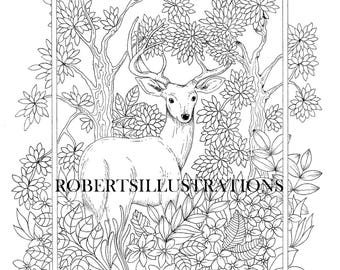 Deer coloring page, adult coloringpage, instantdownload coloringpage