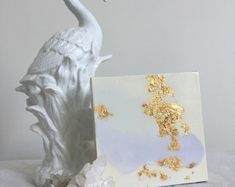 1  - 6x6 canvas paintings - gold leaf and resin