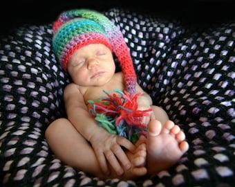 newborn props ~ Crochet, Baby Shower Gift,Handmade, Rainbow Baby, Newborn, Baby, Newborn Photo Prop, Crochet Pixie Hat, Knit Hat, Elf Hat