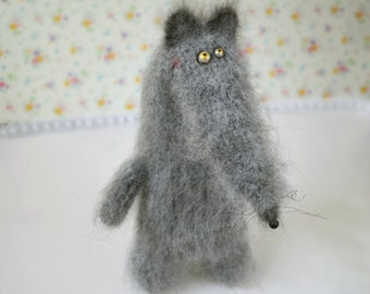 Wolf stuffed toy doll knitted wolf crochet wolf hand knit toy grey wolf funny toy plush wolf doll fuzzy wolf toy cute wolf Valentine's toys