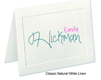 Embossed Panel Personalized Note Cards, Linen Finish, Personalized Notecards, Stationery Set, Thank You Cards, Stationary, Custom Notecards