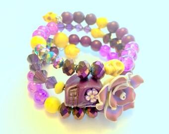Sugar Skull Bracelet Day of the Dead Memory Wire Purple Yellow Bracelet