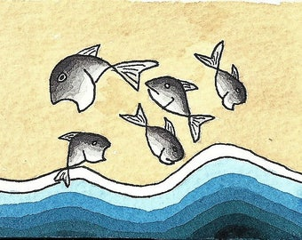 ACEO. Trading card. 'Flying fish'