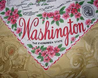 Vintage Washington State Hanky - Hankie Handkerchief