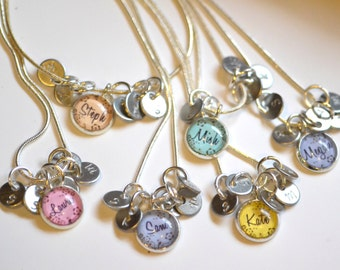 6 best friend necklaces 6 friendship necklace, personalized name friendship necklaces