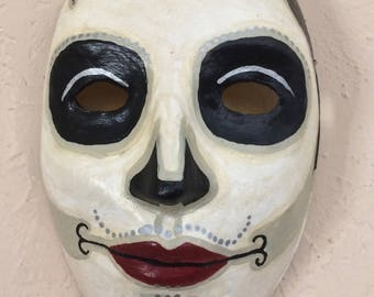 Hand Painted Day of the Dead Paper Mache Mask man's 1920's