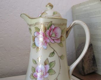 Nippon Chocolate/Tea Pot - Vintage Hand Painted with Gold Embellished Floral Design