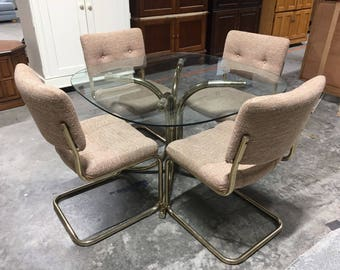 Milo Baughman Style Chrome Craft Cantilevered Brass Tubular Dining Set