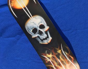 Custom Airbrushed Skull and Real Fire Flame Skateboard Deck
