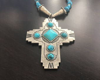 Turquoise Cross necklace southwestern necklace religious antique silver glass beads turquoise beads