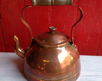 Vintage Copper Kettle With Wood Handle By ARGY EUROPE.. Great Patination Copper Kettle. Good Condition