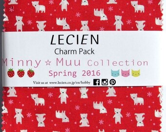 "Lecien Japan 5"" x 5"" Charm Pack Minny Muu Spring Animals fabric set 42 pieces"