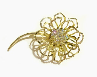 Sarah Coventry Brooch Vintage 1968 Allusion Flower Rhinestone Pin Jewelry Gift Idea for Mom Under 15