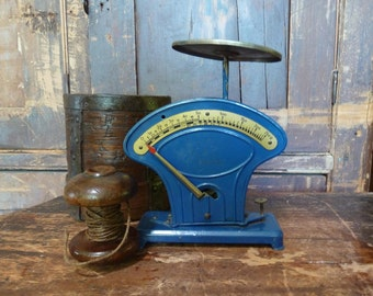 charming antique french blue & brass enzian german scales rare / farmhouse / vintage kitchen scales / rustic / vintage kitchen / primitive