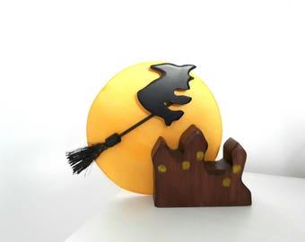Wooden witch diorama, Halloween witch, Witch toy, Halloween gift, Funny gift, Halloween funny gift, wooden pumpkin, Halloween decor