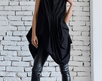 SALE Black Extravagant Shirt/Asymmetric Casual Tunic/Loose Black Long Top/Modern Urban Style Shirt/Short Summer Dress/Belted Tunic Top