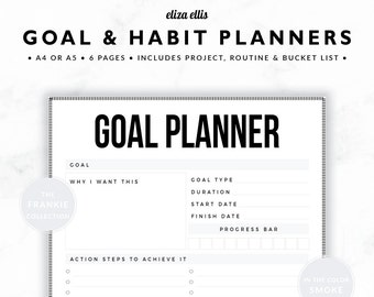 GOAL PLANNERS / Habit Tracker / 2018 Planner / Project Planner / Routine Chart / Checklist / Goals / The Frankie Planners in Smoke / 423