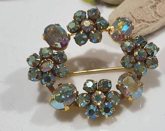 Aurora Borealis Crystal Floral Wreath Brooch and Pendant