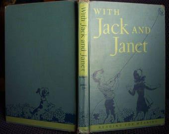 With Jack and Janet, Reader Primer, Homeschool Reader, Grade 1, Vintage 1949 Tip and Mitten Reader, Corinne Malvern Illustrations