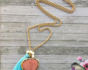 Peach jade necklace. Heart pendant long necklace. Baby blue tassel necklace. Fresh water pearls necklace.