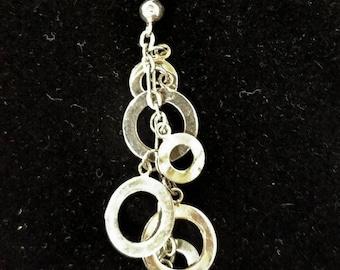 Mid Century .925 Sterling Loop Chain Washer Dangle Pierced Earrings Marked 4.6g