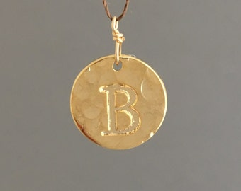 Gold INITIAL Hammered Disc Wish String NECKLACE